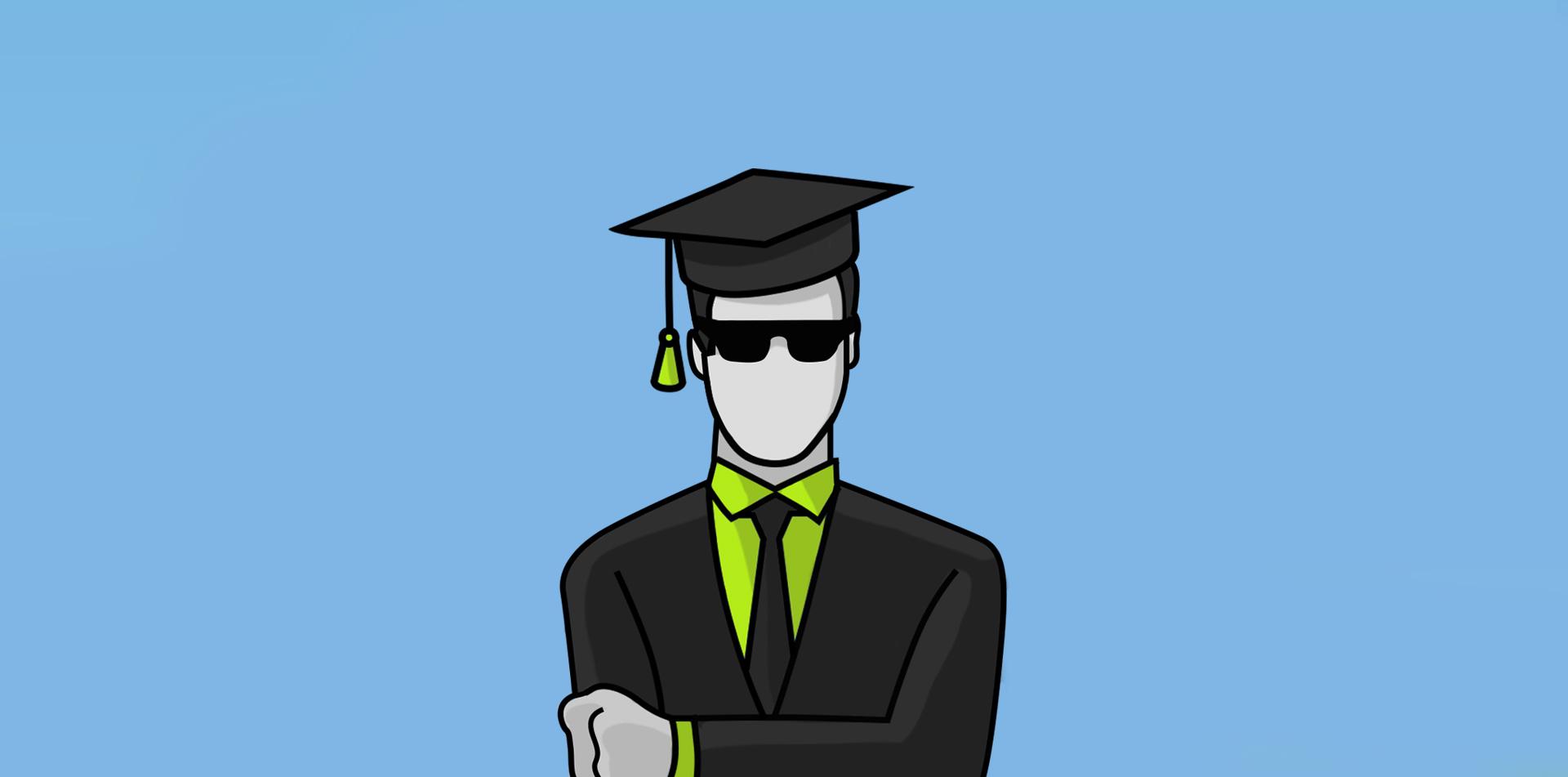 Eine Person im Anzug mit einer Mütze auf. Repräsentativ für Gutachter
