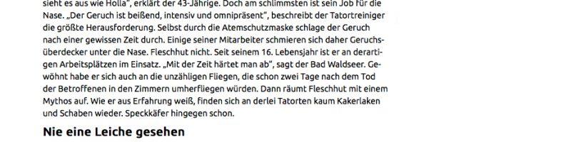 Fleschhut Schädlingsbekämpfung in der Schwäbischen Zeitung (Screenshot)