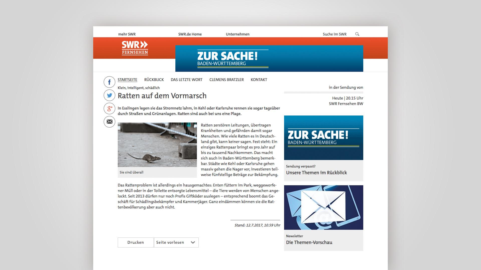 Screenshot des Artikels im SWR, zur Sache! Über Fleschhut Schädlingsbekämpfung