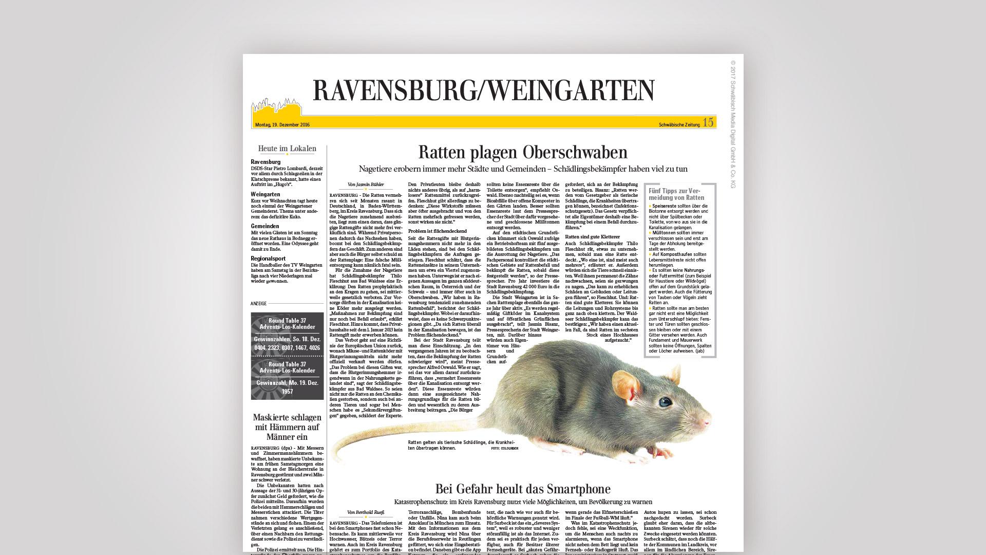 Screenshot des Zeitungsartikels mit Fleschhut Schädlingsbekämpfung