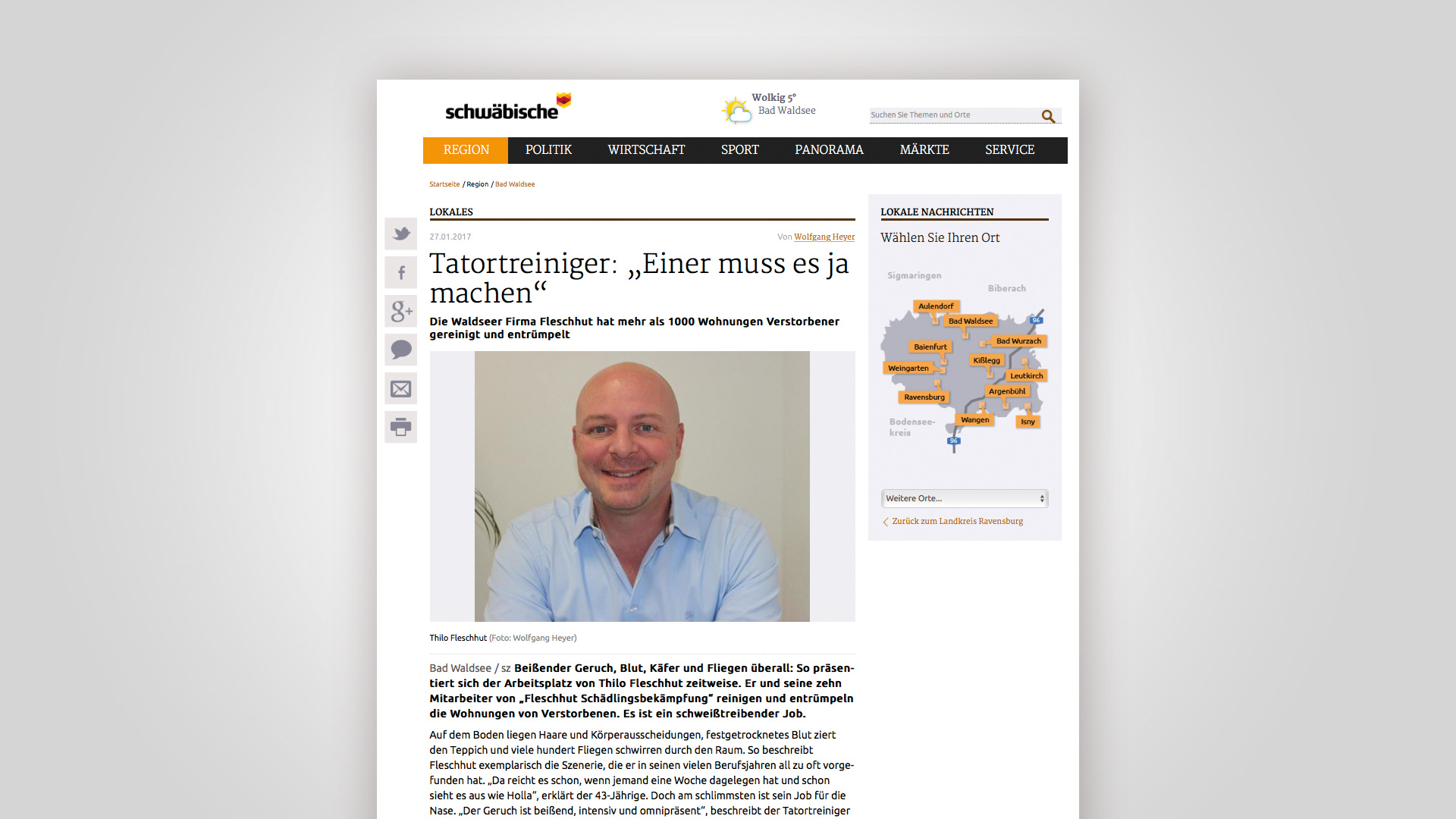 Screenshot des Artikels in der Schwäbischen Zeitung, über Fleschhut Schädlingsbekämpfung