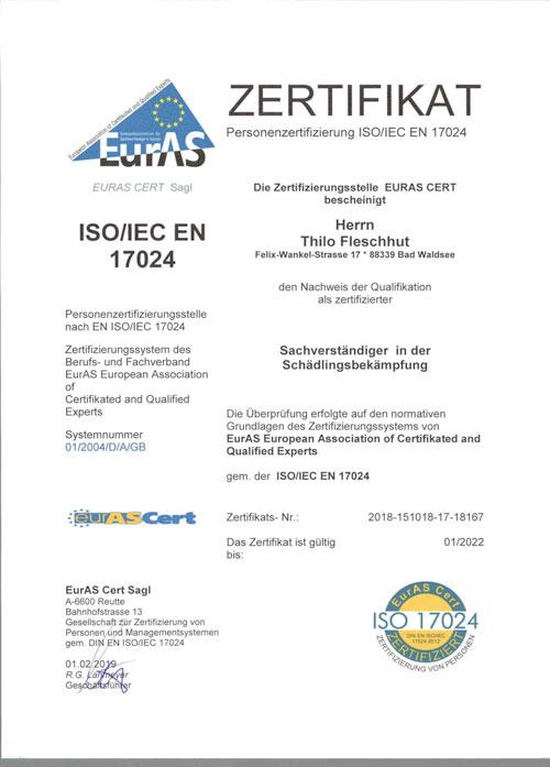 Zertifikat von Fleschhut Schädlingsbekämpfung zum Download